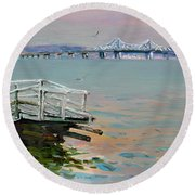 The Old Deck And Tappan Zee Bridge Round Beach Towel