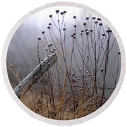 The Old Fence - Blue Misty Morning Round Beach Towel by Angie Rea