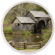 The Old Grist Mill Round Beach Towel by Cindy Manero