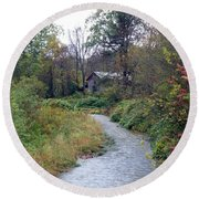 The Old Mill Stream Round Beach Towel
