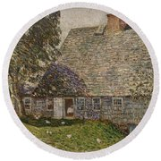 The Old Mulford House Round Beach Towel by Childe Hassam