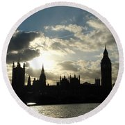 The Outline Of Big Ben And Westminster And Other Buildings At Sunset Round Beach Towel