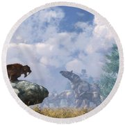 The Paraceratherium Migration Round Beach Towel by Daniel Eskridge