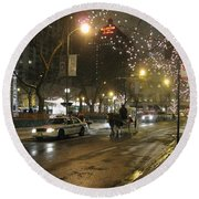 Round Beach Towel featuring the photograph The Past Meets The Present In Chicago Il by Ausra Huntington nee Paulauskaite