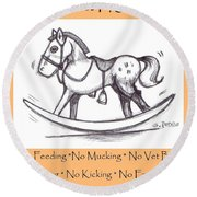 Round Beach Towel featuring the drawing the Perfect Horse by George Pedro