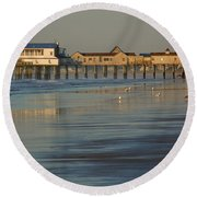 The Pier On Old Orchard Beach Round Beach Towel