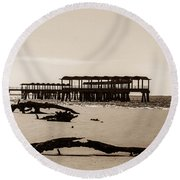 Round Beach Towel featuring the photograph The Pier by Shannon Harrington