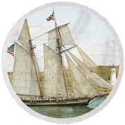 Round Beach Towel featuring the photograph The Pride Of Baltimore In Halifax by Verena Matthew