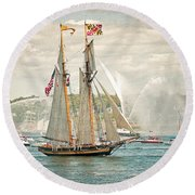 Round Beach Towel featuring the photograph The Pride Of Baltimore by Verena Matthew