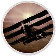 Round Beach Towel featuring the photograph The Red Baron's Fokker At Sunset by Chris Lord