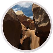 The Red Clay Faces Of  Willis Creek.  Utah.  Round Beach Towel