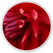 The Red Dahlia Round Beach Towel