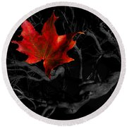 The Red Leaf Round Beach Towel