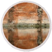 Round Beach Towel featuring the photograph The Reflecting Wall by Nola Lee Kelsey
