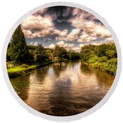 The River Exe At Bickleigh Round Beach Towel by Rob Hawkins