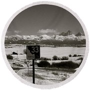 Round Beach Towel featuring the photograph The Road Home by Eric Tressler