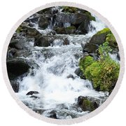Round Beach Towel featuring the photograph The Roadside Stream by Chalet Roome-Rigdon