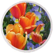 The Secret Life Of Tulips - 2 Round Beach Towel by Rory Sagner