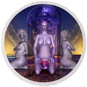 Round Beach Towel featuring the digital art The Shrine Of Life by Rosa Cobos