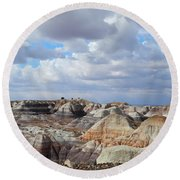 The Sky Clears By Blue Mesa Round Beach Towel by Lynda Lehmann