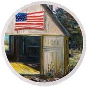 Round Beach Towel featuring the painting The Studio by John Williams