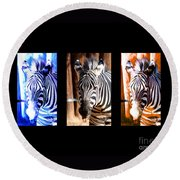 Round Beach Towel featuring the photograph The Three Zebras Black Borders by Rebecca Margraf