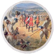 The Victory Of Montcalms Troops At Carillon Round Beach Towel