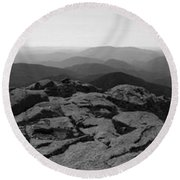 The View North From Mt. Marcy Black And White Three Round Beach Towel