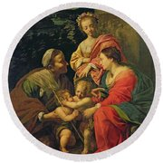 The Virgin And Child With Saints Round Beach Towel