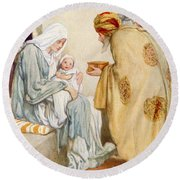 The Visit Of The Wise Men Round Beach Towel