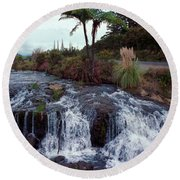 The Waterfall In The Stream Round Beach Towel