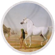 The Wellesley Grey Arabian Led Through The Desert Round Beach Towel by Jacques-Laurent Agasse