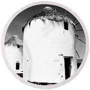 The Windmills Of Mykonos Round Beach Towel