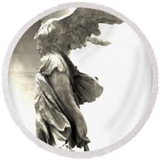 The Winged Victory - Paris Louvre Round Beach Towel