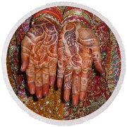 The Wonderfully Decorated Hands And Clothes Of An Indian Bride Round Beach Towel