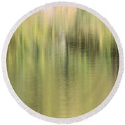 Round Beach Towel featuring the photograph The Woods by Penny Meyers