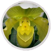The Yellow Orchid Round Beach Towel
