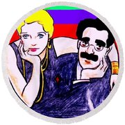 Thelma And Groucho Round Beach Towel