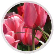 Round Beach Towel featuring the photograph There Is Pink In Heaven by Rory Sagner