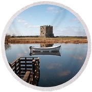 Threave Castle Reflection Round Beach Towel