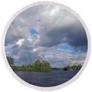 Round Beach Towel featuring the photograph Three Islands And Cloud Mass by Lynda Lehmann