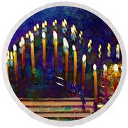 Three Menorahs Round Beach Towel