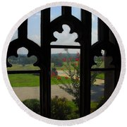 Through The Chapel Arches Round Beach Towel by Cindy Manero