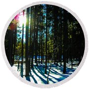 Round Beach Towel featuring the photograph Through The Trees by Shannon Harrington