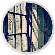 Round Beach Towel featuring the photograph View Through The Window - Painterly Effect by Marilyn Wilson