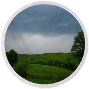 Round Beach Towel featuring the photograph Thunderstorm by Kathryn Meyer