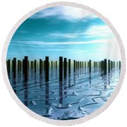Tide Is Out... Round Beach Towel by Tim Fillingim