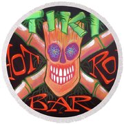 Round Beach Towel featuring the painting Tiki Hot Rod Bar by Alan Johnson