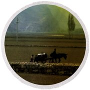 Round Beach Towel featuring the photograph 'til The Day Is Done by Lydia Holly
