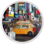 Round Beach Towel featuring the painting Times Square by Anna Ruzsan